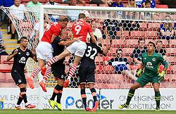 Sam Winnall of Barnsley fires a header at goal  - Mandatory by-line: Matt McNulty/JMP - 23/07/2016 - FOOTBALL - Oakwell Stadium - Barnsley, England - Barnsley v Everton - Pre-season friendly