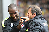 Picture by David Horn/Focus Images Ltd +44 7545 970036<br /> 14/09/2013<br /> Gianfranco Zola Manager of Watford and Chris Powell Manager of Charlton Athletic before the Sky Bet Championship match at Vicarage Road, Watford.