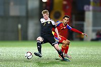 Kevin De Bruyne of Belgium evades Aaron Sanchez of Andorra during the UEFA European Championship 2016 qualifying Group B football match between Andorra and Belgium on October 10, 2015 at The Estadi Nacional in Andorra la Vella, Andorra. <br /> Photo Manuel Blondeau/AOP Press/DPPI