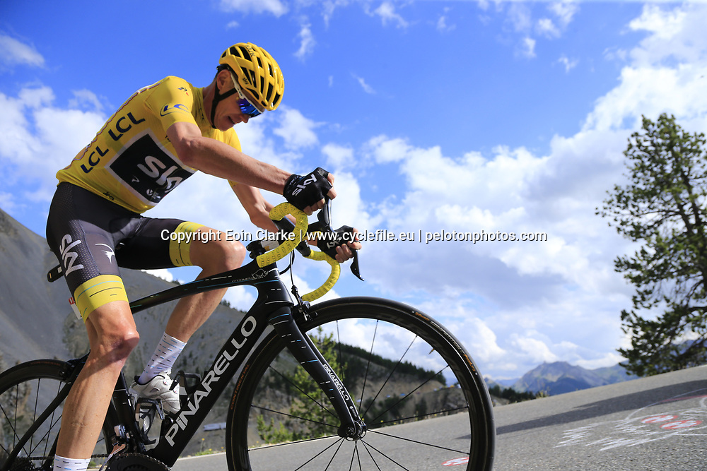 Yellow Jersey Chris Froome (GBR) Team Sky climbs through the Caisse Deserte on Col d'Izoard during Stage 18 of the 104th edition of the Tour de France 2017, running 179.5km from Briancon to the summit of Col d'Izoard, France. 20th July 2017.<br /> Picture: Eoin Clarke   Cyclefile<br /> <br /> All photos usage must carry mandatory copyright credit (&copy; Cyclefile   Eoin Clarke)