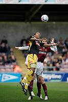 Photo: Marc Atkins.<br /> <br /> Northampton Town v Stockport County. Coca Cola League 2. 17/04/2006. Stockport County's Tes Bramble is first to the ball.