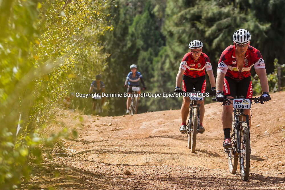 Shane Chorley and John Smit (Front) during stage 6 of the 2015 Absa Cape Epic Mountain Bike stage race from the Cape Peninsula University of Technology in Wellington, South Africa on the 21 March 2015<br /> <br /> Photo by Dominic Barnardt/Cape Epic/SPORTZPICS<br /> <br /> PLEASE ENSURE THE APPROPRIATE CREDIT IS GIVEN TO THE PHOTOGRAPHER AND SPORTZPICS ALONG WITH THE ABSA CAPE EPIC