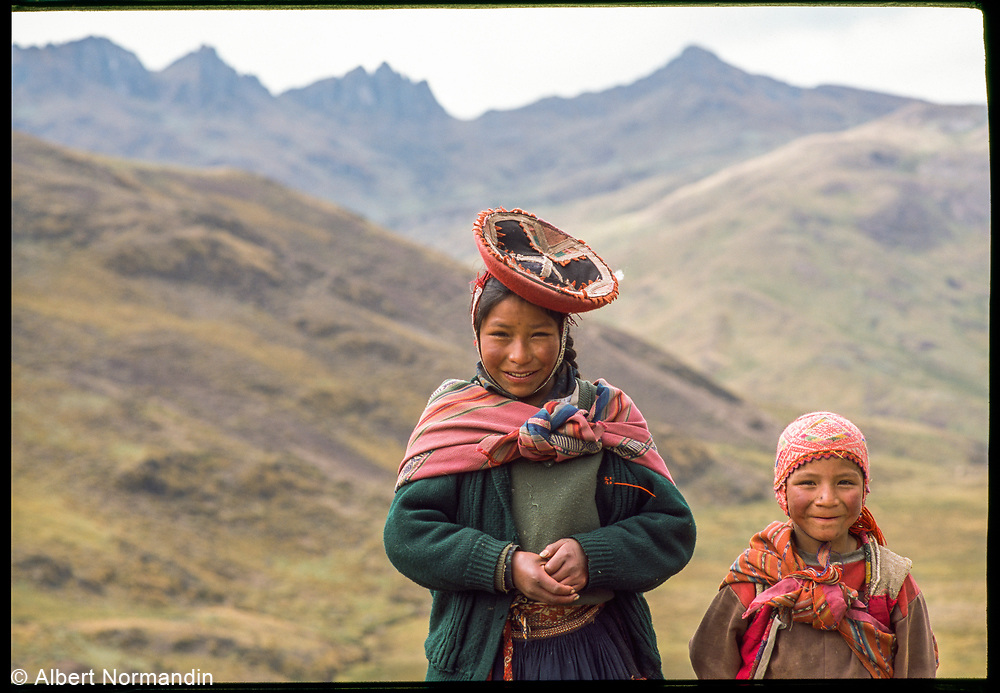 Justino and sister in the mountains, Peru, 2003