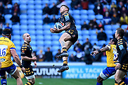 Wasps fullback Matteo Minozzi(15) leaps for the ball during the Gallagher Premiership Rugby match between Wasps and Bath Rugby at the Ricoh Arena, Coventry, England on 2 November 2019.