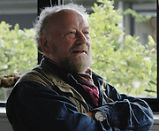 Danish cartoonist Kurt Westergaard in hiding, who created the controversial cartoon of the Muslim Prophet Muhammad wearing a bomb in his turban.