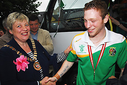 Cathaoirleach of Westport Town Council Tereasa McGuire congratulates Ray Moylette on his return home as European boxing champion...Pic Conor McKeown