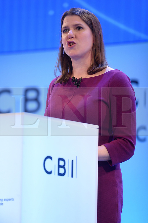 © Licensed to London News Pictures. 18/11/2019. London, UK.  British Liberal Democrat party leader Jo Swinson makes a keynote speech at the annual Confederation of British Industry annual conference. Photo credit: Ray Tang/LNP