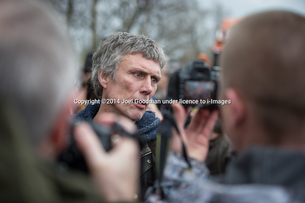 Bez at Barton Moss anti-fracking demo . Monday, 17th March 2014 .  Barton Moss , Salford , UK . Happy Mondays dancer , BEZ ( Mark Berry ) , joins protesters at the Barton Moss anti-fracking protest site in Salford today (Monday 17th March 2014) . Bez has said he will stand for MP in the constituency of Salford and Eccles in 2015 . Picture by Joel Goodman/i-Images