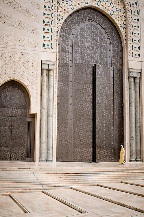Morocco, Casablanca. Man at the door of Hassan II Mosque.