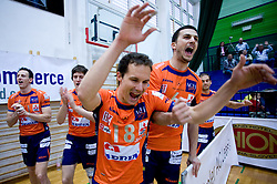 Phillip Eatherton, Matevz Kamnik, Rok Satler and Mitja Gasparini at last final volleyball match of 1.DOL Radenska Classic between OK ACH Volley and Salonit Anhovo, on April 21, 2009, in Arena SGS Radovljica, Slovenia. ACH Volley won the match 3:0 and became Slovenian Champion. (Photo by Vid Ponikvar / Sportida)