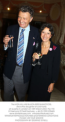 The HON.WILLIAM & HON.MRS SHAWCROSS, she is the daughter of Lord Forte, at a party in London on 15th March 2004.PSJ 194