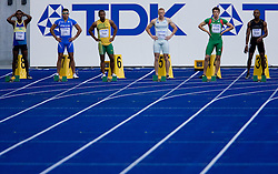 Jack Iroga (SOL), Simone Collio (ITA), Michael Frater (JAM), Matic Osovnikar  of Slovenia, Arnaldo Abrantes (POR) and Berenger Aymard Bosse (CAF) compete in the men's 100m qualifying event of the 2009 IAAF Athletics World Championships on August 15, 2009 in Berlin, Germany. (Photo by Vid Ponikvar / Sportida)