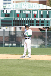 11 April 2015:  Jarrod Juskiewicz stands on 2nd base after hitting a double during an NCAA division 3 College Conference of Illinois and Wisconsin (CCIW) Pay in Baseball game during the Conference Championship series between the Millikin Big Blue and the Illinois Wesleyan Titans at Jack Horenberger Stadium, Bloomington IL