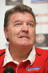 CARDIFF, WALES - Friday, November 13, 2009: Wales' manager John Toshack MBE during a press conference at the Vale of Glamorgan ahead of the international friendly match against Scotland. (Pic by David Rawcliffe/Propaganda)