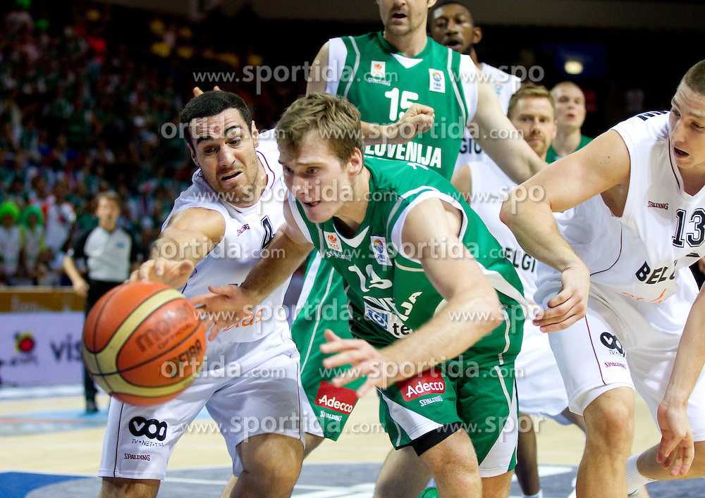 Zoran Dragic of Slovenia between Roel Moors of Belgium and Maxime de Zeeuw of Belgium during basketball match between National teams of Belgium and Slovenia in Group D of Preliminary Round of Eurobasket Lithuania 2011, on September 4, 2011, in Arena Svyturio, Klaipeda, Lithuania.  (Photo by Vid Ponikvar / Sportida)