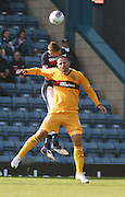 Dundee's Iain Davidson  oujumps Motherwell's Michael Higdon  - Dundee v Motherwell, Clydesdale Bank Scottish Premier League at Dens Park.. - © David Young - 5 Foundry Place - Monifieth - DD5 4BB - Telephone 07765 252616 - email: davidyoungphoto@gmail.com - web: www.davidyoungphoto.co.uk