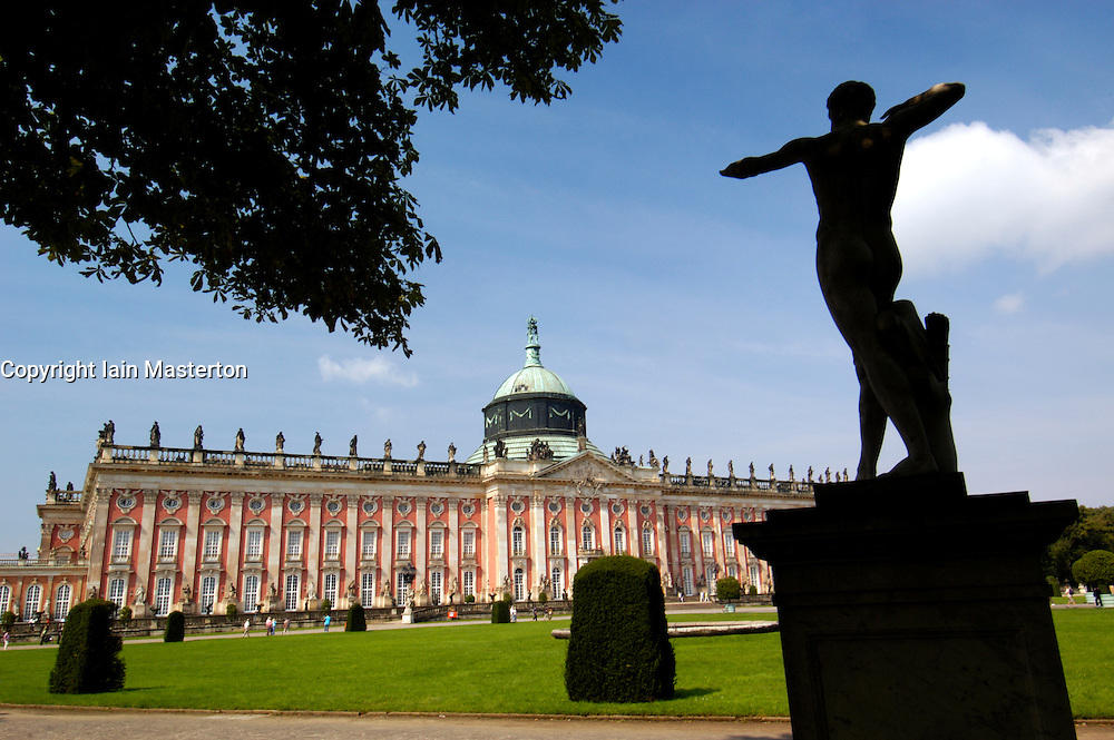 Statue in front of palace at Sanssouci in Potsdam Germany