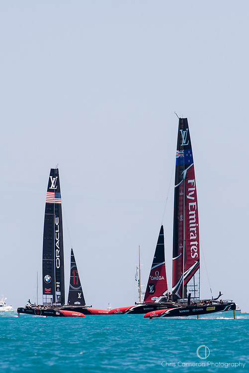 The Great Sound, Bermuda, 25th June 2017. Emirates Team New Zealand stretches their lead over  Oracle Team USA in race seven. Day four of racing in the America's Cup presented by Louis Vuitton.