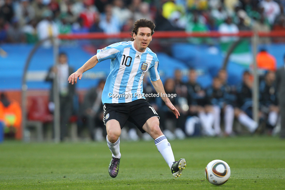 Lionel Messi (ARG), <br /> JUNE 12, 2010 - Football : <br /> 2010 FIFA World Cup South Africa <br /> Group Match -Group B- <br /> between Argentina 1-0 Nigeria <br /> at Ellis Park Stadium, Johannesburg, South Africa. <br /> (Photo by YUTAKA/AFLO SPORT) [1040]