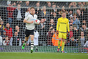Fulham striker, Matt Smith (09) running back with ball after scoring 1-2 during the Sky Bet Championship match between Fulham and Nottingham Forest at Craven Cottage, London, England on 23 April 2016. Photo by Matthew Redman.