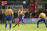 Billy Kee of Accrington Stanley passes the ball past  Mansfield Town's Paul Anderson during the EFL Sky Bet League 2 match between Accrington Stanley and Mansfield Town at the Fraser Eagle Stadium, Accrington, England on 19 August 2017. Photo by John Potts.
