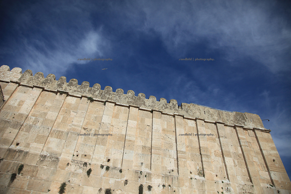 The old walls of the Ibrahimi Mosque in Hebron, which is also the Tomb of the Patriachs. It´s a holy site for both, jews and muslims. Israel has recently announcement the site on a list of Israeli heritage sites, which provoked local and international protests.