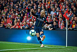 LIVERPOOL, ENGLAND - Sunday, October 7, 2018: Manchester City's David Silva takes a corner-kick during the FA Premier League match between Liverpool FC and Manchester City FC at Anfield. (Pic by David Rawcliffe/Propaganda)