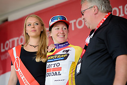 Anisha Vekemans (Lotto Soudal) earns the climbers jersey at the 108 km Stage 2 of the Lotto Belgium Tour 2016 on 8th September 2016 in Lierde, Belgium. (Photo by Sean Robinson/Velofocus).