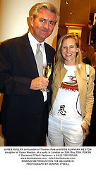 JAMES MULLEN co-founder of Thomas Pink and MISS ALANNAH WESTON daughter of Galen Weston, at a party in London on 25th May 2004.PUK 86