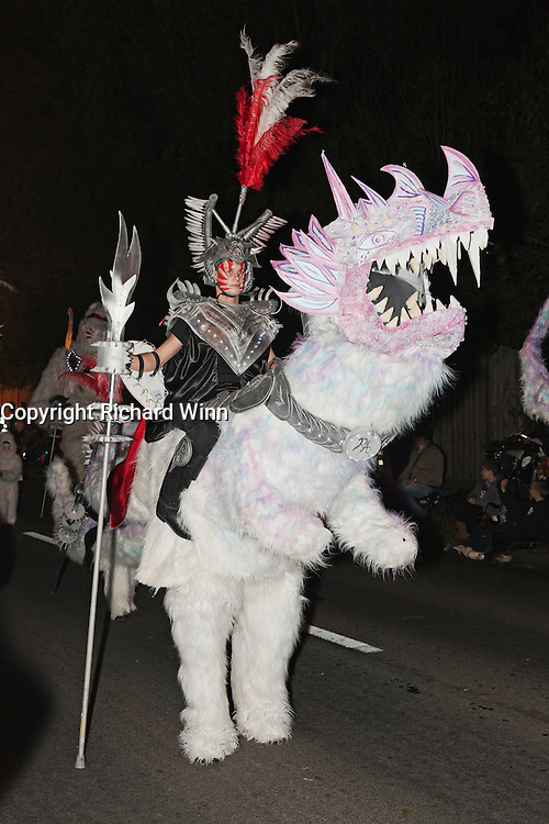 One of the performers in Pandora's Army by Motiv8 Carnival Club. Winner of the group of masqueraders class at the 2011 Glastonbury Chilkwell Guy Fawkes Carnival.