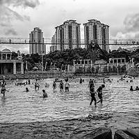 People at Sunway Lagoon waterpark in Kuala Lumpur, Malaysia.