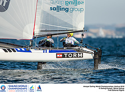 Aarhus, Denmark is hosting the 2018 Hempel Sailing World Championships from 30 July to 12 August 2018. More than 1,400 sailors from 85 nations are racing across ten Olympic sailing disciplines as well as Men's and Women's Kiteboarding. <br /> 40% of Tokyo 2020 Olympic Sailing Competition places will be awarded in Aarhus as well as 12 World Championship medals. ©PEDRO MARTINEZ/SAILING ENERGY/AARHUS 2018<br /> 07 August, 2018.