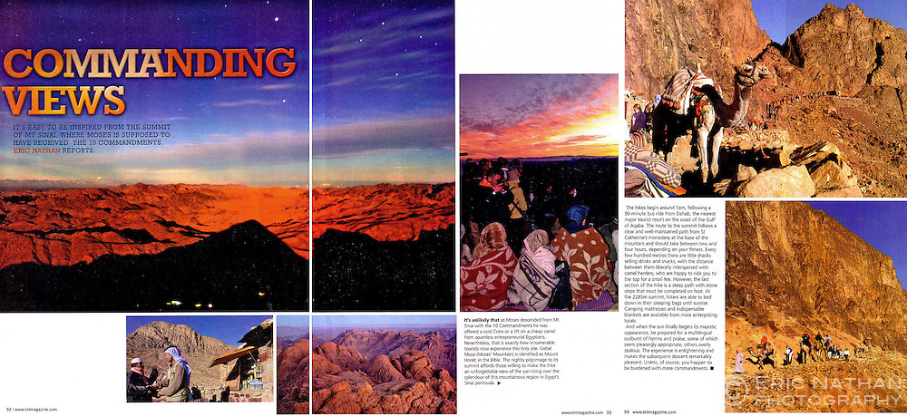 Tear sheet from TNT magazine of an article I wrote and photographed on Mount Sinai.