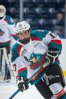KELOWNA, CANADA - SEPTEMBER 2: Right wing Kyle Crosbie #17 of the Kelowna Rockets warms up against the Victoria Royals on September 2, 2017 at Prospera Place in Kelowna, British Columbia, Canada.  (Photo by Marissa Baecker/Shoot the Breeze)  *** Local Caption ***