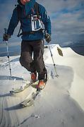 Ski touring on Blencathra, lake district, Cumbria, UK