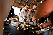 Oyster roast at Bowen's Island restaurant along the Folly River, Charleston, SC.