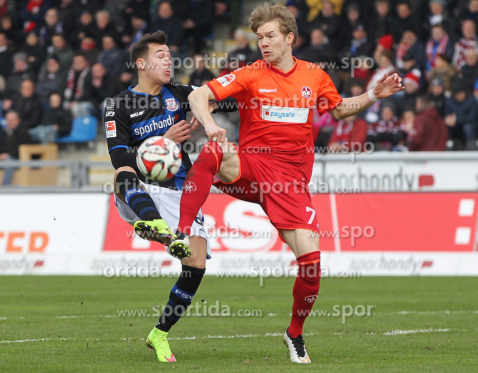 22.02.2015, Frankfurter Volksbank Stadion, Frankfurt, GER, 2. FBL, FSV Frankfurt vs 1. FC Kaiserslautern, 22. Runde, im Bild vl. Zweikampf, Mario Engels (FSV Frankfurt) Michael Schulze (1. FC Kaiserslautern) // during the 2nd German Bundesliga 22nd round match between FSV Frankfurt vs 1. FC Kaiserslautern at the Frankfurter Volksbank Stadion in Frankfurt, Germany on 2015/02/22. EXPA Pictures &copy; 2015, PhotoCredit: EXPA/ Eibner-Pressefoto/ Voelker<br /> <br /> *****ATTENTION - OUT of GER*****