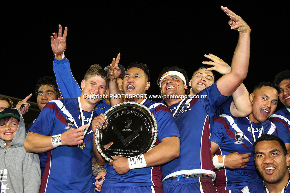 Akarana Falcons celebrate winning the Albert Baskerville Trophy. Pirtek NZRL National Premiership Rugby League match, Albert Baskerville Trophy Grand Final, Counties Manukau Stingrays v Akarana Falcons at Mt Smart Stadium, Auckland, New Zealand. Monday 21st October 2013. Photo: Anthony Au-Yeung / photosport.co.nz