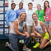 August 23, 2016, New Haven, Connecticut: <br /> Eugenie Bouchard of Canada and Tournament Director Anne Worcester attend the Courtgirl Experience during Day 5 of the 2016 Connecticut Open at the Yale University Tennis Center on Tuesday, August  23, 2016 in New Haven, Connecticut. <br /> (Photo by Billie Weiss/Connecticut Open)