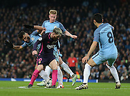 Manchester City players swarm Sergio Aguero of Manchester City during the Champions League Group C match at the Etihad Stadium, Manchester. Picture date: November 1st, 2016. Pic Simon Bellis/Sportimage