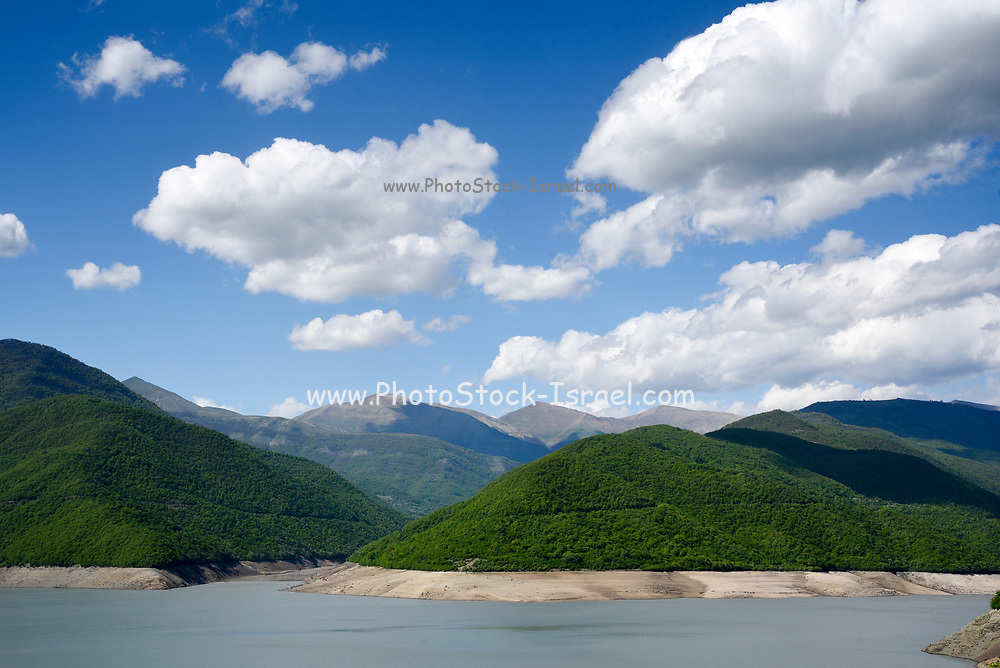 The Zhinvali Dam is a hydroelectric dam on the Aragvi River in the Caucasus Mountains in Zhinvali, Georgia. The Zhinvali Hydroelectric Power Plant has two turbines with a nominal capacity of 65 MW each having a total capacity of 130 MW. The building of the dam in 1986 formed the Zhinvali Reservoir.