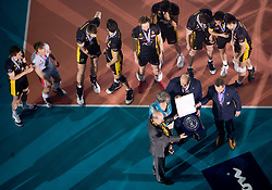 Team of Belchatow at medal ceremony after winning the match for 3rd place of CEV Indesit Champions League FINAL FOUR tournament between PGE Skra Belchatow, POL and ACH Volley Bled, SLO on May 2, 2010, at Arena Atlas, Lodz, Poland. Belchatow defeated ACH 3-1. (Photo by Vid Ponikvar / Sportida)