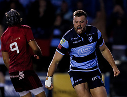 Owen Lane of Cardiff Blues celebrates but the try was disallowed<br /> <br /> Photographer Simon King/Replay Images<br /> <br /> Guinness PRO14 Round 4 - Cardiff Blues v Munster - Friday 21st September 2018 - Cardiff Arms Park - Cardiff<br /> <br /> World Copyright © Replay Images . All rights reserved. info@replayimages.co.uk - http://replayimages.co.uk