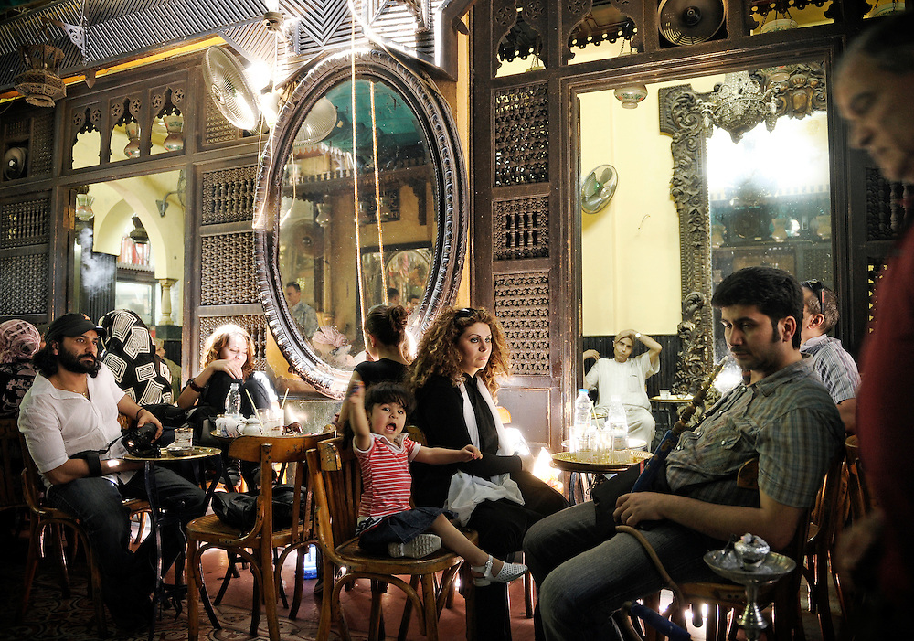 A scene of El Fishawi coffee house, in the heart of Khan El Khalili market, in Islamic Cairo, Egypt.