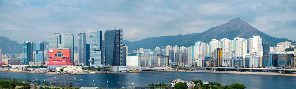 Panoramic view of dense urban cityscape of Kowloon Bay in Hong Kong