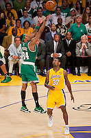 17 June 2010: Forward Paul Pierce of the Boston Celtics shoots the ball over Ron Artest of the Los Angeles Lakers during the first half of the Lakers 83-79 championship victory over the Celtics in Game 7 of the NBA Finals at the STAPLES Center in Los Angeles, CA.