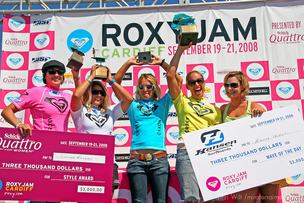 Winners of the 3rd Annual Roxy Jam Linda Benson Women's World Longboard Professional, 2008, Cardiff by the Sea, California: Summer Romero, Chelsea Williams, Jen Smith, Cori Schumacher, and Bianca Valenti, winner of Wave of the Day.