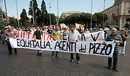 Roma 16 Giugno  2011.Manifestazione AntiEquitalia (Agente della Riscossione), per protestare per i pignoramenti per le multe non pagate, organizzata dall' Associazione Vessati Italia che chiedono  la revoca ad Equitalia il mandato di esazione ed il divieto di svendita giudiziaria per aggravio speculativo sui debiti.<br /> <br /> Rome June 16, 2011. <br /> Demostration against Equitalia, to protest foreclosures for unpaid fines, organized by the Association harassed Italy<br />  The Group carries Equitalia tax collection throughout the country, except Sicily.
