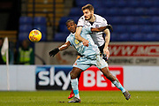 Sunderland striker Joel Asoro (29) and Bolton Wanderers defender Dorian Dervite (4) during the EFL Sky Bet Championship match between Bolton Wanderers and Sunderland at the Macron Stadium, Bolton, England on 20 February 2018. Picture by Craig Galloway.