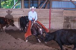 September 24, 2017 - Minshall Farm Cutting 6, held at Minshall Farms, Hillsburgh Ontario. The event was put on by the Ontario Cutting Horse Association. Riding in the Non-Pro Class is Greg Wilde on Bobby Cee Lena owned by the rider.